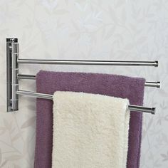 Featuring three bars, the Solid Brass Triple Swing Arm Towel Bar can hold several bath towels or robes at the same time. The functional design allows it to rotate to stay flush against the wall when not in use. Towel Holder Bathroom, Bathroom Towels, Bathroom Fixtures, Towel Holders, Bath Towels, Bathroom Storage, Nursery Storage, Towel Storage, Bathroom Shelves