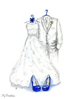 Dreamlines Wedding Dress Sketch and Shoes 1