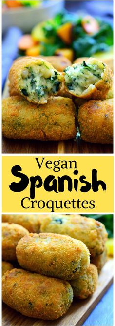 These Spanish spinach croquettes are a typical tapa in bars all around Spain. They're simple to make, packed with flavour and make a great vegan party finger food or appetizer! Vegan Foods, Vegan Dishes, Vegan Vegetarian, Vegetarian Recipes, Healthy Recipes, Paleo, Vegetarian Finger Food, Vegan Meals, Delicious Recipes