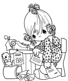 為孩子們的著色頁: Secretary day - precious moments coloring pages
