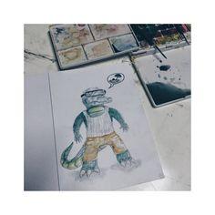 Croco want Swim. Dark Artwork, Horror, Swim, Skull, Ink, Illustration, Bathing, Swat, Illustrations