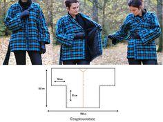 UN MANTEAU SUPER SIMPLE A COUDRE venez découvrir le lien du tuto et patron de ce modèle à coudre sur mon blog bettinaelcreation Kimono Diy, Kimono Coat, Coin Couture, Couture Sewing, Sewing Coat, Sewing Clothes, Coat Patterns, Sewing Patterns, Diy Kleidung
