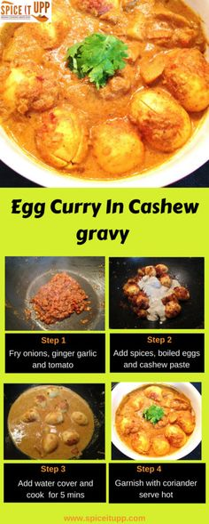 Egg curry in cashew gravy - made with boiled eggs in creamy cashew gravy base. Read the step wise recipe guide to making this easy Indian egg curry. A kids friendly Indian recipe that is mild to taste and quick to cook. Easy Egg Recipes, Easy Indian Recipes, Veggie Recipes, Snack Recipes, Ethnic Recipes, Snacks, Indian Egg Curry Recipe, Indian Flat Bread, How To Cook Eggs