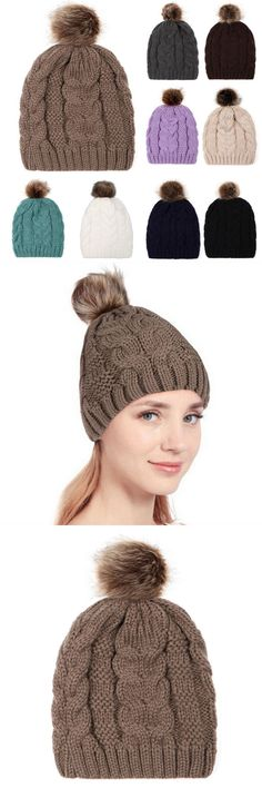 48116dac7cd Adult women keep warm winter fur ball knitted wool beanie hemming hat cap  bonnet femme winter