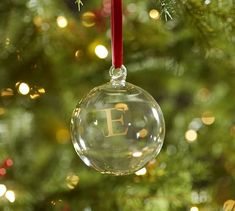 "Monogrammable Glass Ball Ornament - $8 ""H"""
