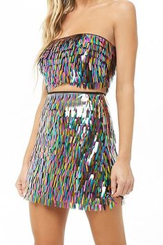 Multicolor Fringe Sequin Mini Skirt 24 Easy Sytish Ways to Recreate Sequin Skirt Outfits Stage Outfits, Dance Outfits, Skirt Outfits, Cute Outfits, Vegas Outfits, Fall Outfits, Festival Outfits, Festival Fashion, Girls Fashion Clothes