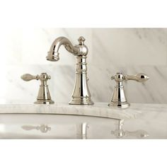 Kingston Brass American Classic Polished Nickel Widespread Bathroom Sink Faucet with Drain at Lowe's. Victorian style widespread faucet is designed with a high spout that offers ample clearance. Constructed of a solid brass body for enhanced finish and Widespread Bathroom Faucet, Lavatory Faucet, Bathroom Sink Faucets, Bathroom Fixtures, Bathroom Hardware, Concrete Bathroom, Washroom, Craftsman Bathroom Faucets, Bath Vanities