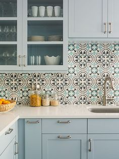 Kitchen Tile and Backsplash Ideas . Kitchen Tile and Backsplash Ideas . A Granada Tile S Cluny Cement Tile Backsplash Updates A Kitchen Wall Tiles, Diy Kitchen, Kitchen Interior, Kitchen Decor, Kitchen White, Decorating Kitchen, Kitchen Curtains, Kitchen Cupboard, Blue Kitchen Backsplash