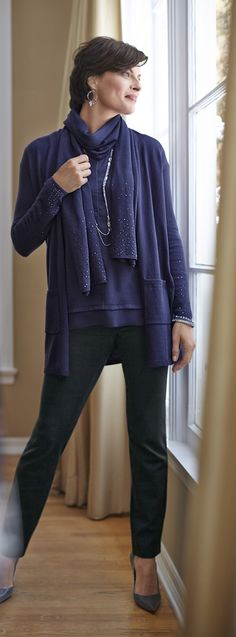 Oh, so sparkly: The shimmer cardi and matching scarf. Chico's Diamante Sleeve Danielle Cardigan and Danielle Scarf.