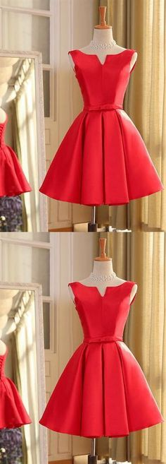 Red Sleeveless A Line Short Homecoming Dresses,Satin Cocktail Dresses Dusty Pink Bridesmaid Dresses, Hoco Dresses, Prom Dresses Online, Cheap Prom Dresses, Dresses For Sale, Girls Dresses, Evening Dresses, Inexpensive Homecoming Dresses, Affordable Bridesmaid Dresses