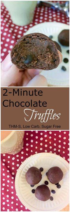 2 Minute Chocolate Truffles (THM-S, Low Carb, Sugar Free, Keto-Friendly)
