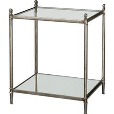 Uttermost gannon mirrored glass end table - 24282 ($409) ❤ liked on Polyvore featuring home, furniture, tables, accent tables, shelves furniture, shelf table, mirror accent table, shelving furniture and mirrored glass furniture