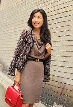 Ann Taylor Grecian Inspired dress with chanel-like tweed jacket