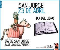 San Jorge - Sant Jordi - día del libro. 23 de Abril. Fiestas de España, cultura española