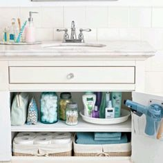"""Small bathroom organization - add a shelf under the sink to use that """"useless"""" space"""