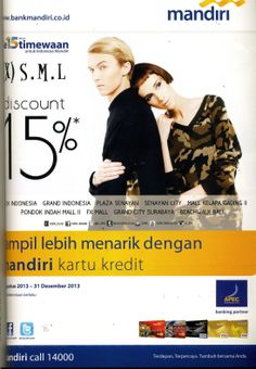 (X)S.M.L 15% off with Mandiri Credit Card ads is appeared on Cosmopolitan Indonesia - November 2013