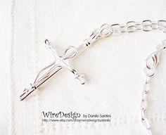 Silver Wire Cross Necklace  Handmade by wiredesignbydanilo on Etsy, $32.00