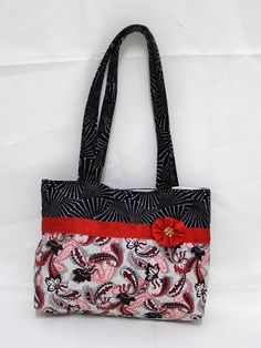 SALE 15 Off   Tote  Red black and white Paisley  by shusha64, $30.00