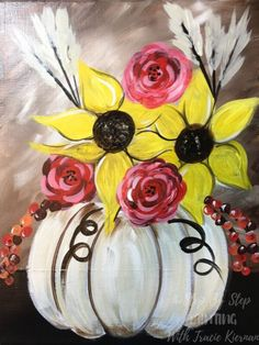 How To Paint A Fall Bouquet Learn how to paint a fall bouquet with acrylics on canvas! This is a beginner painting tutorial that you can learn from home using simple steps and a video! Canvas Painting Designs, Fall Canvas Painting, Canvas Painting Tutorials, Simple Acrylic Paintings, Autumn Painting, Painting Lessons, Acrylic Art, Diy Painting, Canvas Art