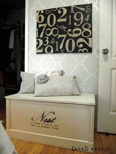 This DIY pottery barn number board looks AWEsome on our Royal Design Moorish Trellis stencil via AKA Design