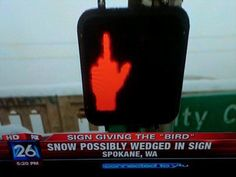 Hilarious Pictures of the day, 121 pics. Middle Finger Traffic Sign