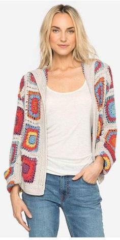 60+ Granny Square Crochet Cardigan Pattern Ideas for Summer or Winter Part 30; crochet cardigan; crochet cardigan pattern; crochet cardigan tutorial; crochet cardigan sweater; cardigan granny square; cardigan granny crochet