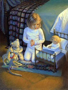 """The Lord's Blessing by Kathy Lawrence is a Christian art piece that portrays a young girl """"teaching"""" her dolls how to pray. Prayers For Children, Christian Art, Beautiful Children, Art Market, Vintage Children, Vintage Art, Illustrators, Art For Kids, Illustration Art"""