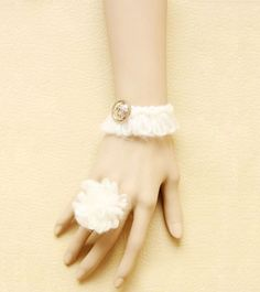Female bracelet with a ring of delicate lace of white lady $13.86
