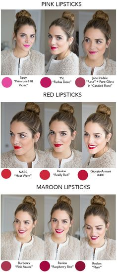 Lipstick Shades...I love the red and even maroon shades. I'm determined to be able to pull this off one day.