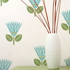 All over wall stencil instead of irritating wall paper! African Protea Flower Stencil