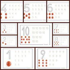 Fichas de números. Aprender a contar y lectoescritura