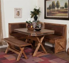 Sunny Designs   Sedona Long And Short Corner Bench In Oak  .