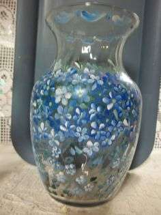 A Vintage Glass Vase Hand Painted Original by FolkArtByNancy, $35.00