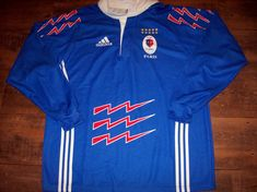 This is a very rare Stade Francais Official Adidas Long sleeved Rugby Union Shirt from the 2000 02 seasons Sponsorless shirt Shirt is in excellent Paris France, Classic Rugby Shirts, Rugby Jerseys, Vintage Jerseys, Adidas