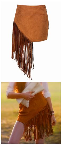 Women's Fashion Casual Girl Suedette Asymmetric Fringed Tassel Mini Skirt