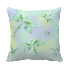 Pastel Dragonfly Throw Pillow