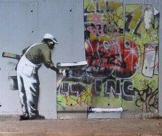 Autor banksy Duelo con otro graffitero robbo. Londres