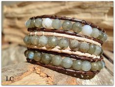 Bracciale Wrap   cuoio, Labradorite  Realizzato a mano.    Handmade gemstone and leather Wrap bracelet.  Hight quality!