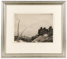 """Chauncey Ryder """"French Hill"""", Signed Etching : Lot 727"""