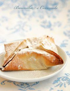 Pastéis de Massa Filo com Maçã e Canela - Filo Pastries with Apples and Cinnamon - Baunilha e Caramelo