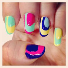 Fear No Beauty - Mega-Bright Color Block Semi-Circle Manicure #Tutorial #NailArt #Howto