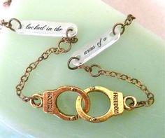 Bukowski handcuffs necklace custom by BrassIsaac on Etsy, $42.00