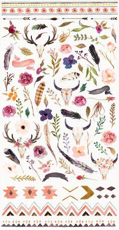 Ilustación Watercolour Tribe&Flower DIY+Bonus by Graphic Box on Creative Market