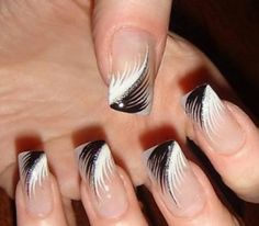 Feather nail art is maybe the most effective alternative that you simply will create. However, there is also times that you simply feel as if making feather nail art is just too. Black Nail Designs, Simple Nail Designs, Beautiful Nail Designs, Beautiful Nail Art, Nail Art Designs, Nails Design, Pedicure Designs, Beautiful Hands, Hot Nails