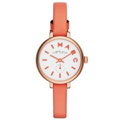 Marc by Marc Jacobs Sally 28mm White Dial & Thin Coral Leather Strap Watch From Berry's Jewellers