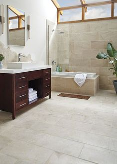 Choose Aliso Gris ceramic tiles from the Essentials Collection for your next wall tile or floor tile design installation. Ceramic Tile Bathrooms, Stone Bathroom, Bathroom Floor Tiles, Wall And Floor Tiles, Master Bathroom, Guest Bathrooms, Limestone Flooring, Tile Flooring, Travertine