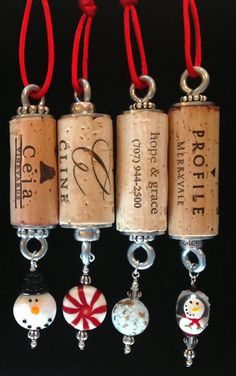Wine Cork Christmas Ornaments  Okay, these aren't really diy crafty items because the clever people at Wine Cork Rehab offer them for sale, but they were just too neat not to pin.   :-)