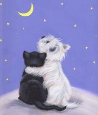 "WESTIE & BLACK CAT ""Stargazing""  One of our westies had a little black cat"