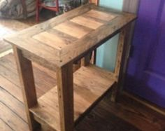 reclaimed wood end table, side table, pallet wood oak end table, rustic table farmhouse style side table