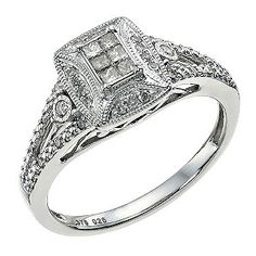 9ct White Gold 1/4 Carat Diamond Cluster Ring - Product number 9581103